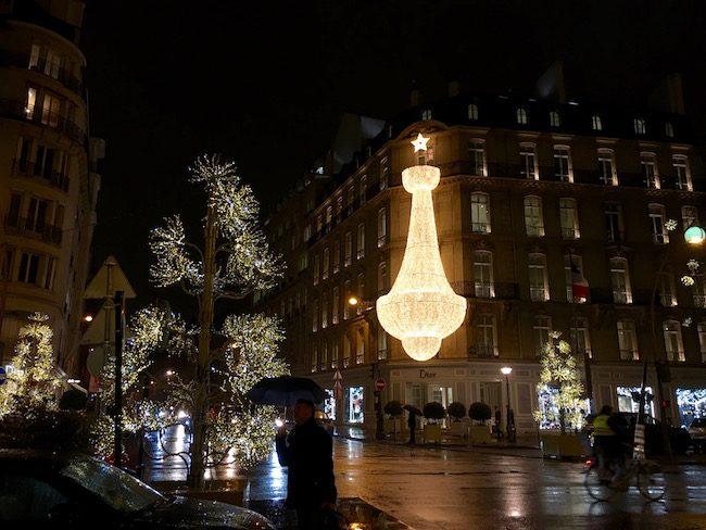 Christmas lights in romantic Paris at Dior