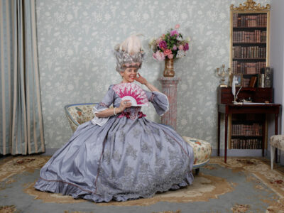 Woman in French costume in Versailles