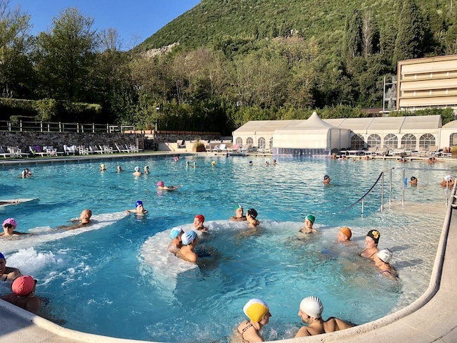 A hot springs Tuscany resort, the outdoor pool at Monsummano Terme spa and hotel