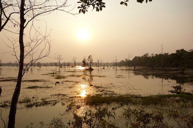 Sunset at Angkor Wat, Lake at Neak Prean