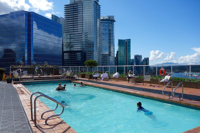 Outdoor pool at Pan Pacific Vancouver hotel at Canada Place