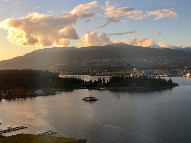 Sunset from the Pan Pacific Hotel Vancouver