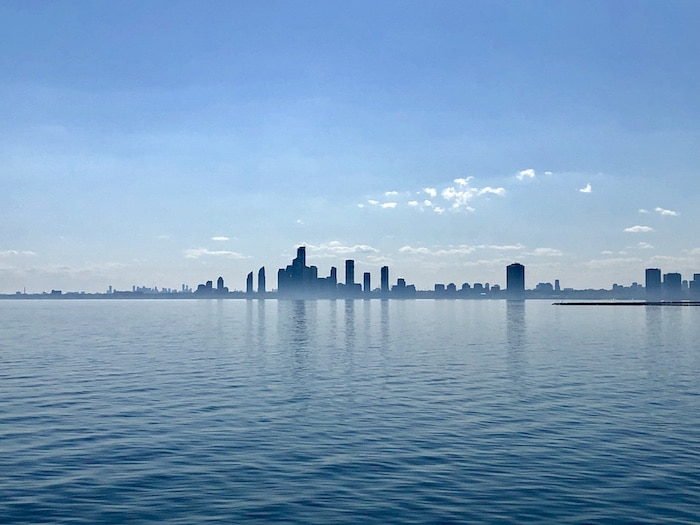 Blue view of Toronto from Lake Ontario