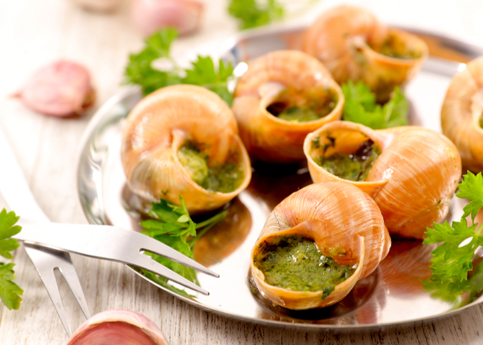 A small plate of french-style snails