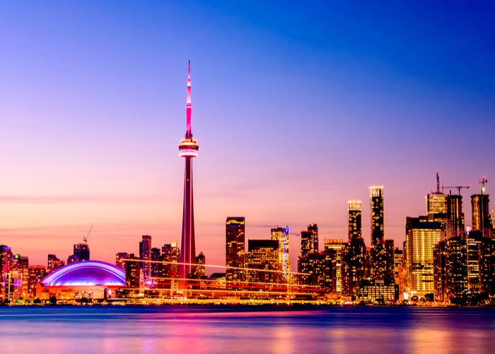View of Toronto, Ontario, skyline at night.