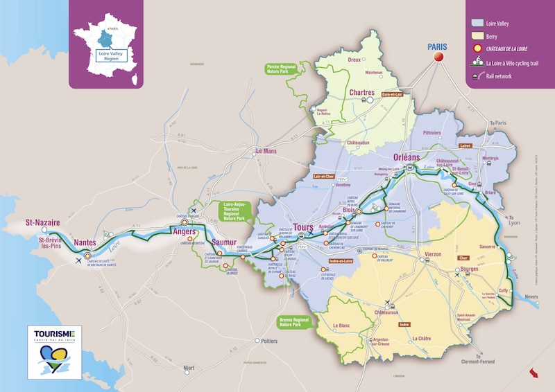 Map of Loire Valley chateaux