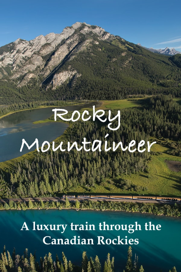 Rocky Mountaineer luxury train traveling through the mountains of Canada