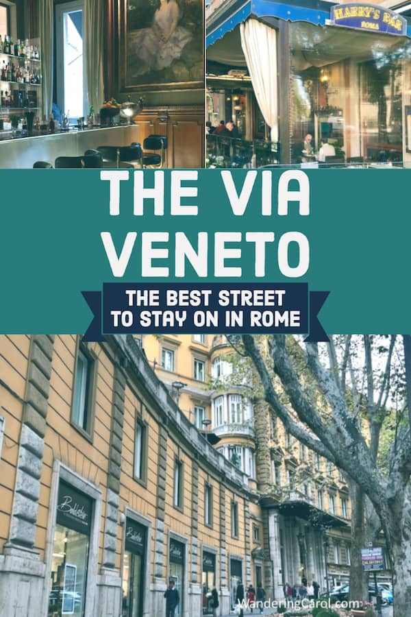 Collage of images of the Via Veneto, a famous street in Rome Italy