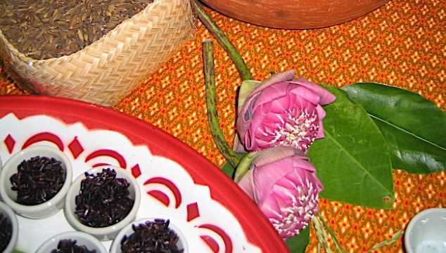 Thailand rice display with purple rice and flowers