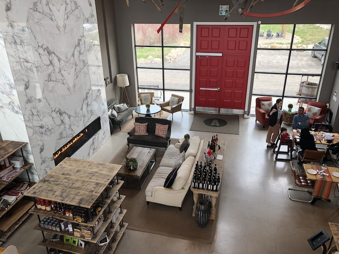 Hockley winery with red and white decor