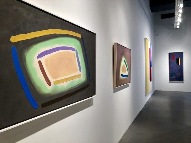 Colourful abstract paintings by William Perehudoff at Berry Campbell Gallery in Chelsea New York