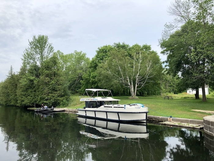 Our Le Boat Canada, Horizon 4 at Poonamalie Lock on the Rideau Canal in Ontario