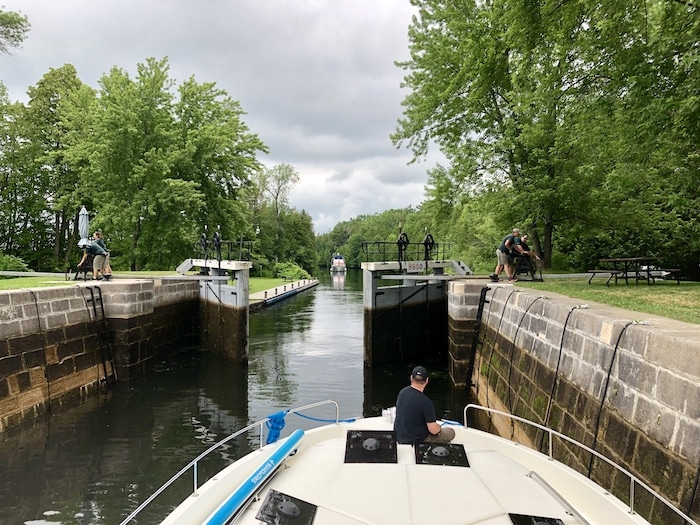 Poonamalie Lock Rideau Canal on our Le Boat Canada
