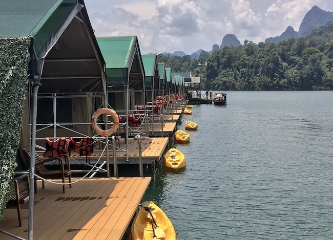 Romantic resort in Thailand, the Rainforest Floating Camp at Cheow Lan Lake