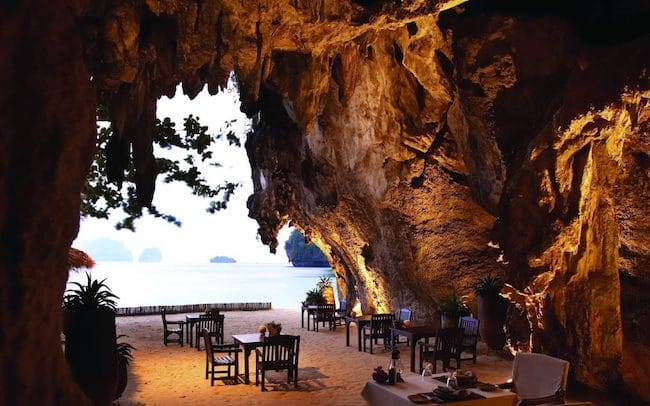 Restaurant in a cave at Rayavadee Resort Krabi Thailand