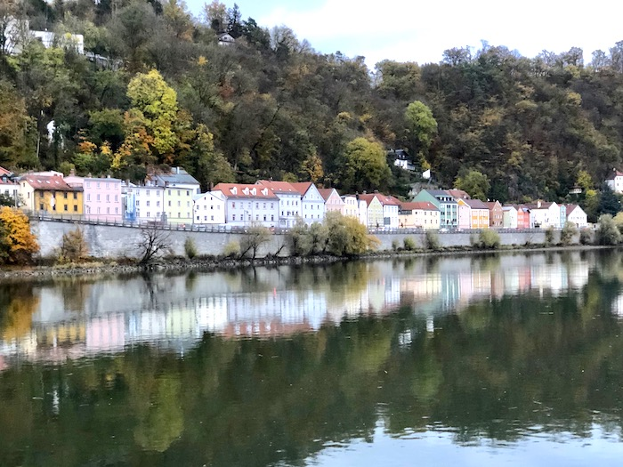 Pastel houses in Passau, Germany from the Danube River