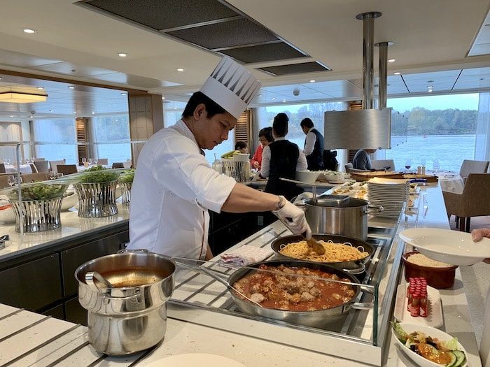 Chef serving lunch on a Viking River Cruise Danube Waltz
