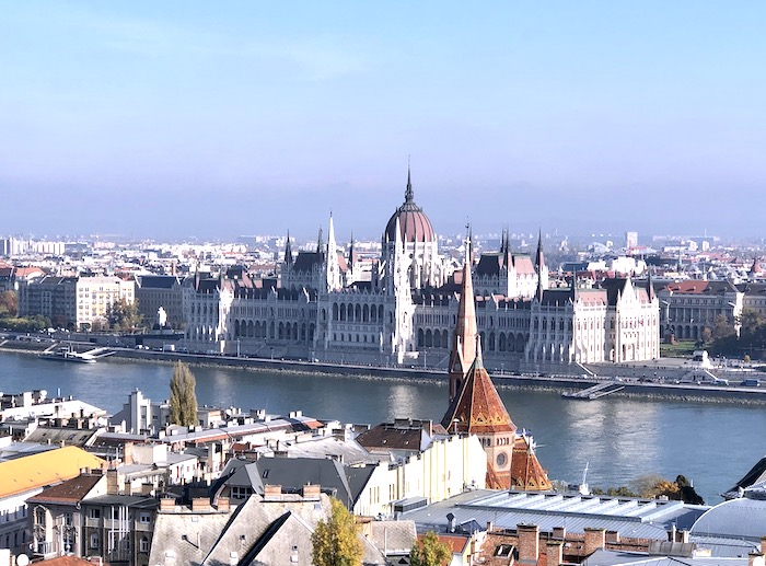 View of Budapest Parliament and the Danube River from the castle