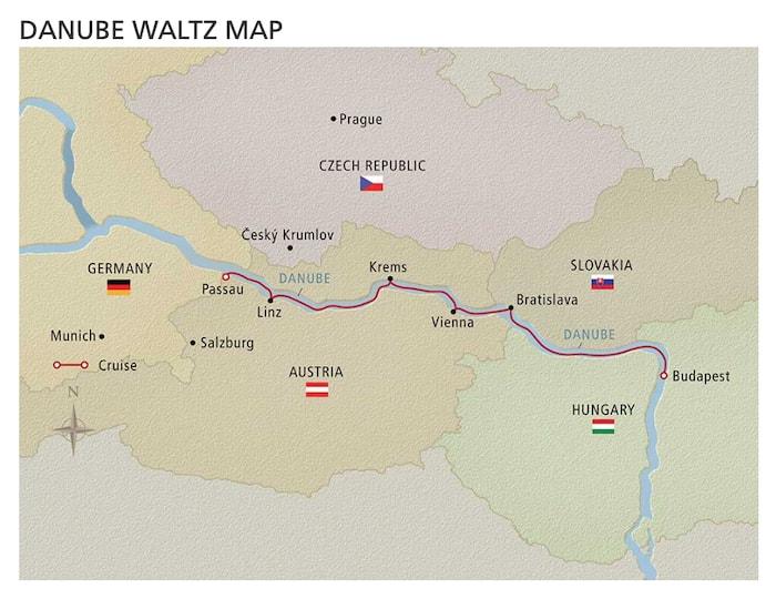 Viking Cruises Danube Waltz Map