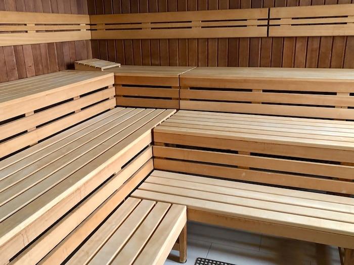 Cedar sauna interior