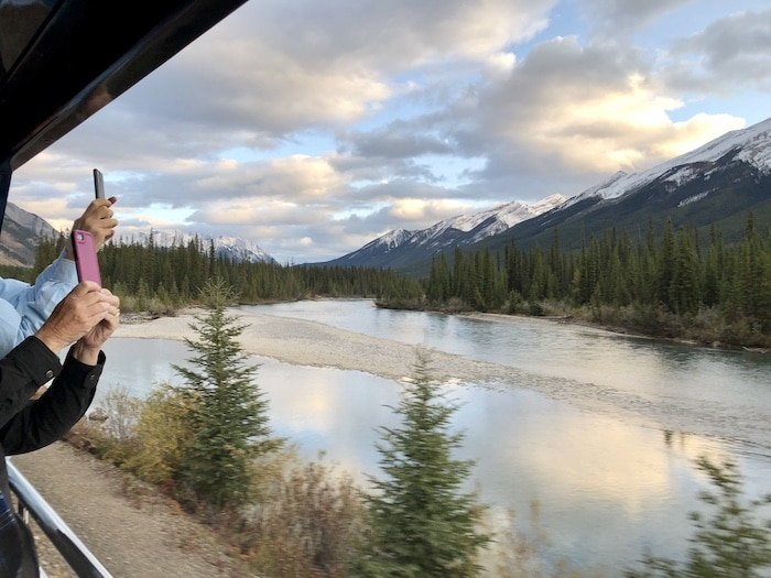 taking photos on rocky mountaineer train
