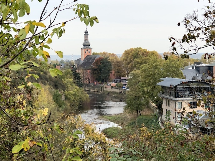 Landscape of Bad Kreuznach with St Paul Church Steeple