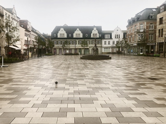Market square in Bad Kreuznach Germany on a misty day