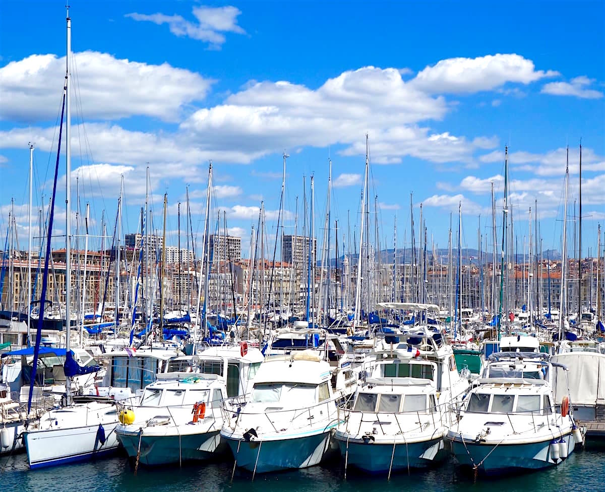 Boats in the old port of Marseille in the South of France
