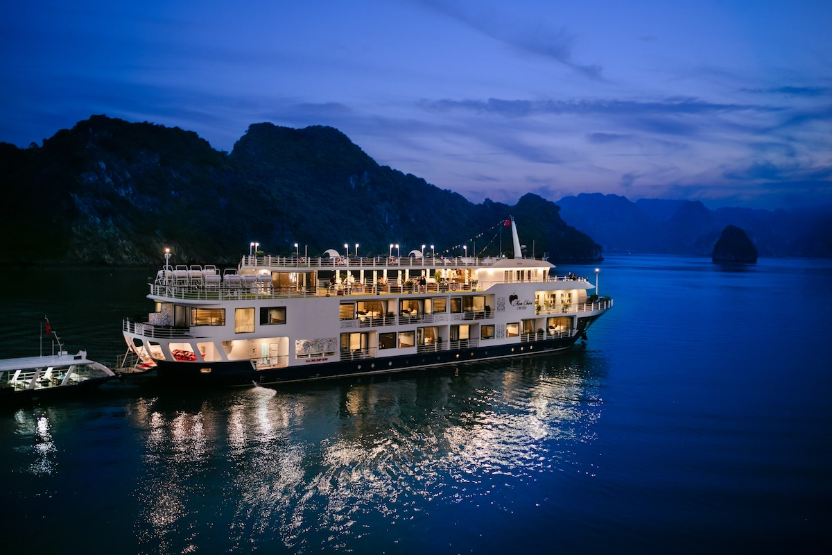 luxury cruise ship in halong bay vietnam at night
