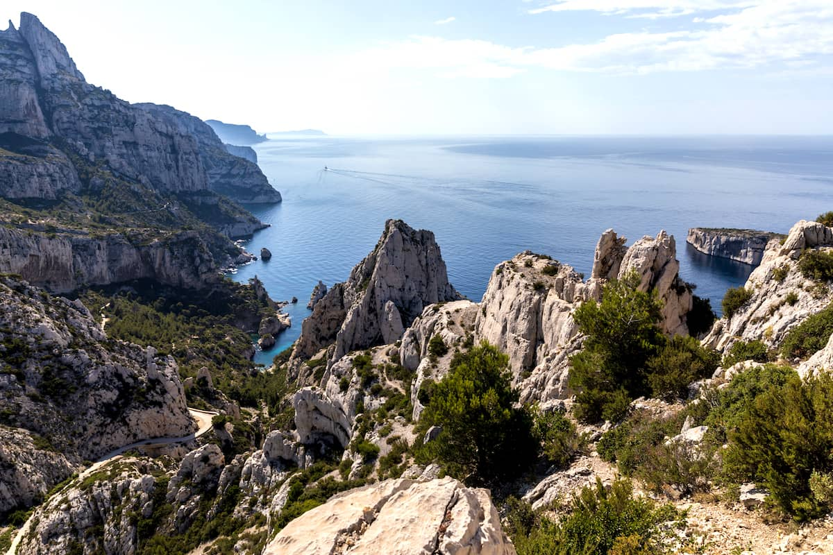 Calenques, rocky limestone cliffs near Marseille