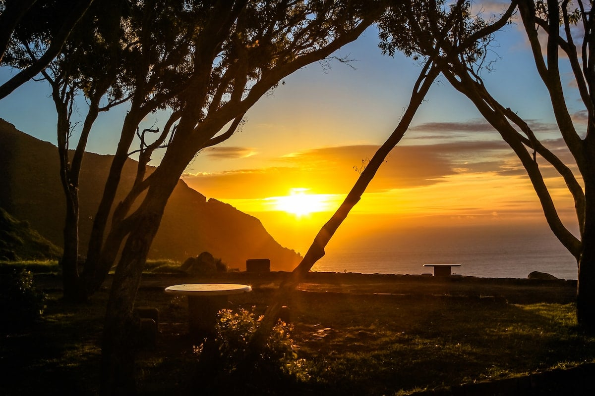 sunset view of chapman's peak and the coast