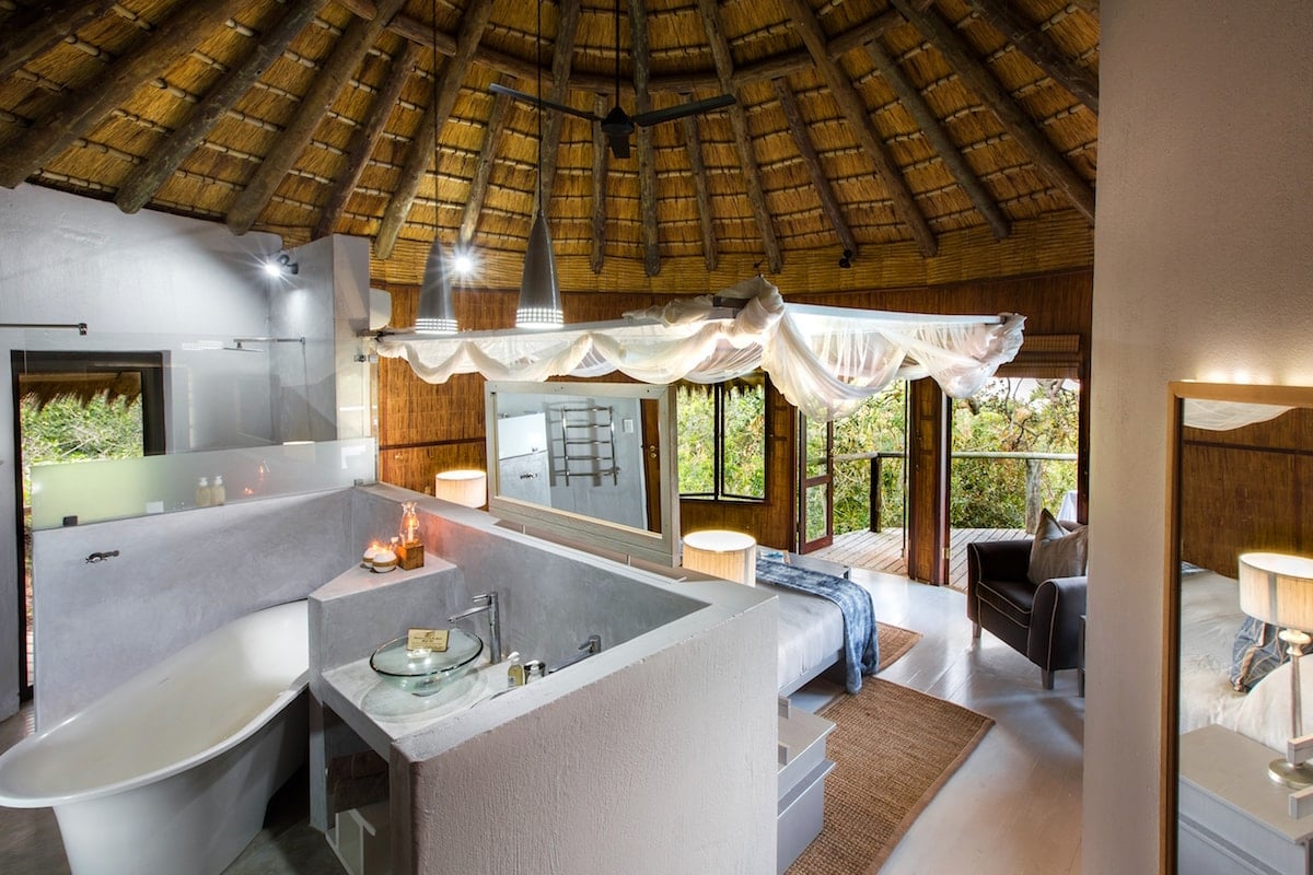 interior shot of the a top luxury hotel in south africa, thonga beach lodge