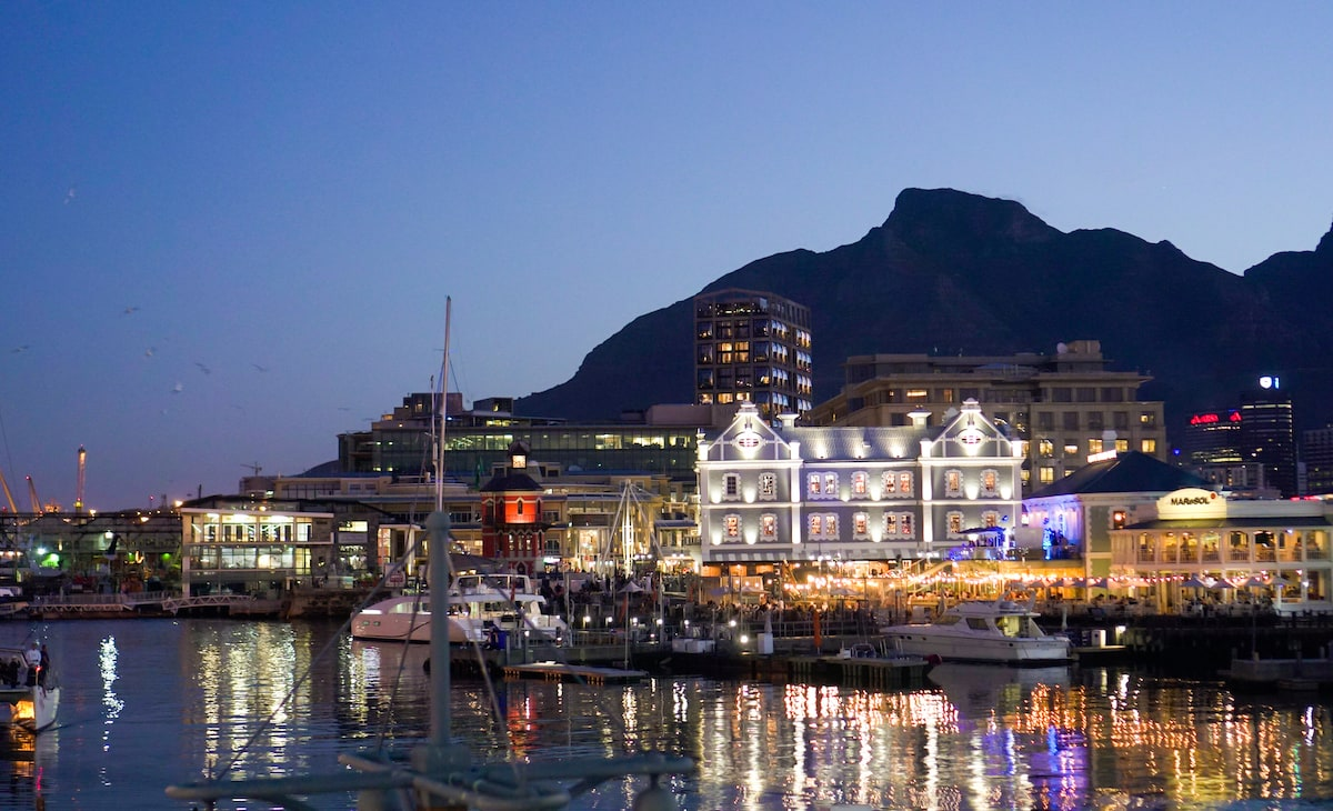 night scene of cape town on the victoria and alfred waterfront