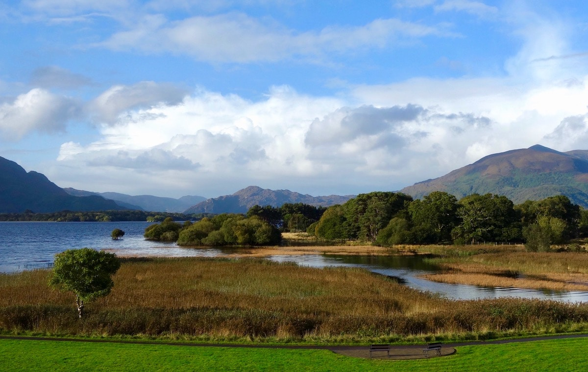 view of killarney lake from the lake hotel on the ring of kerry in southwest ireland