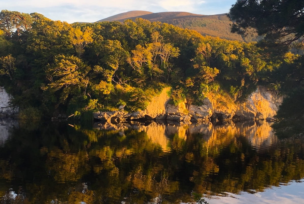 late afternoon golden light on a lake in killarney national park in ireland