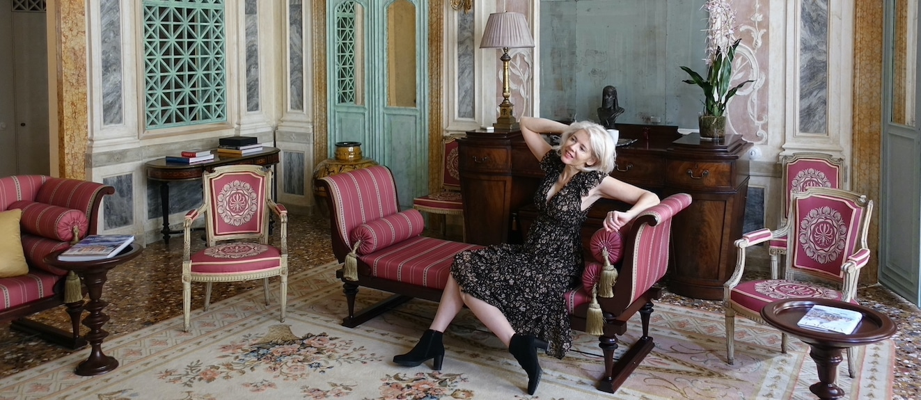 blonde in glamorous palazzo in venice